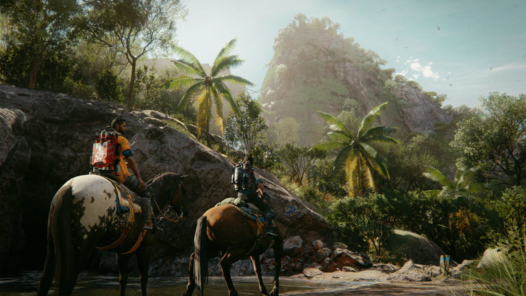 Two players ride horses in Far Cry 6.