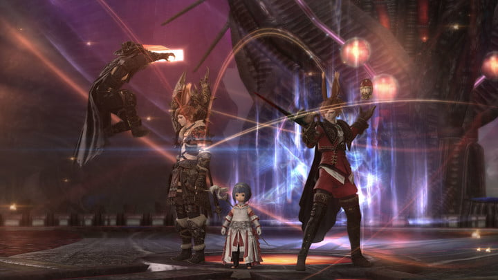 """Four characters pose at the end of the first FFXIV Endwalker dungeon """"The tower of Zot""""."""