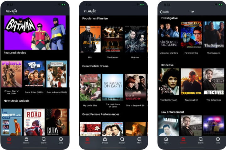 Filmrise free movie app for iOS and Android.