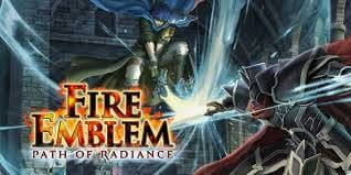 An epic logo for Fire Emblem: Path of Radiance shows characters fighting.