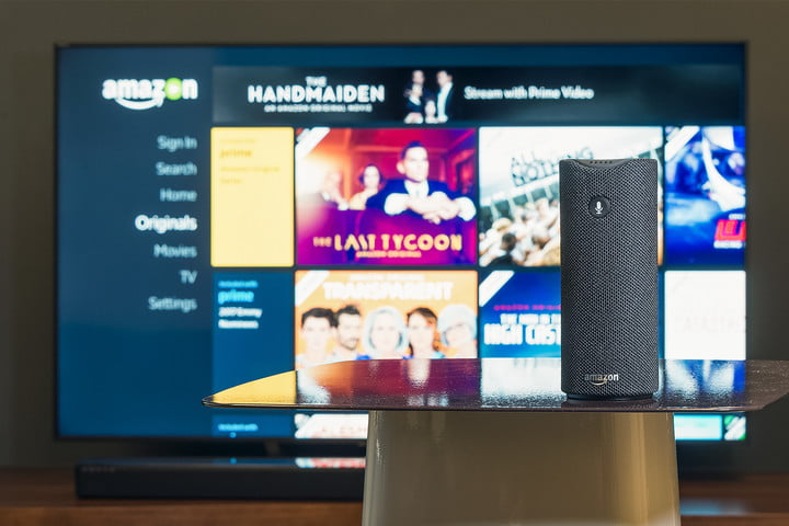 Alexa in front of Amazon Video app on a 4K Display