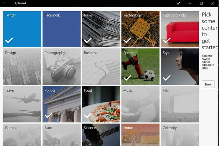 The user interface for the Flipboard app for Windows 10.