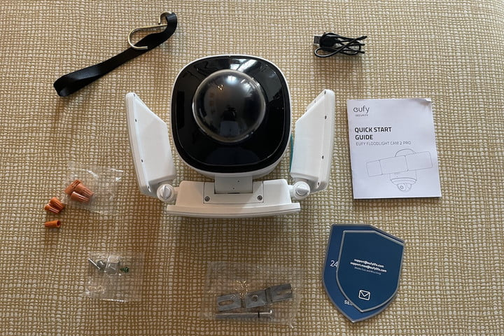 The box contents of the Eufy Floodlight Cam 2 Pro.