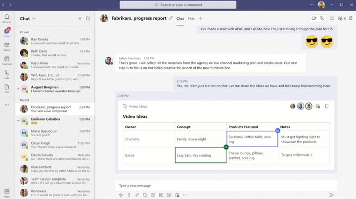 Pinning a message in Microsoft Teams.