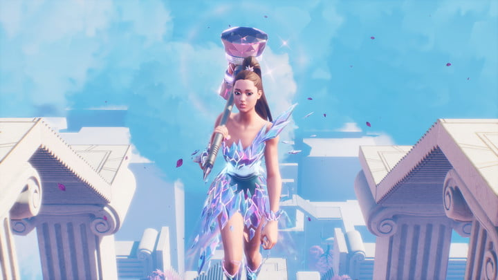 A giant Ariane Grande walking with a giant hammer