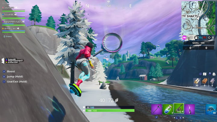 Player hoverboarding in Fortnite.