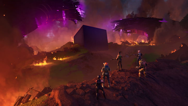 Four characters overlooking Mothership in Fortnite.