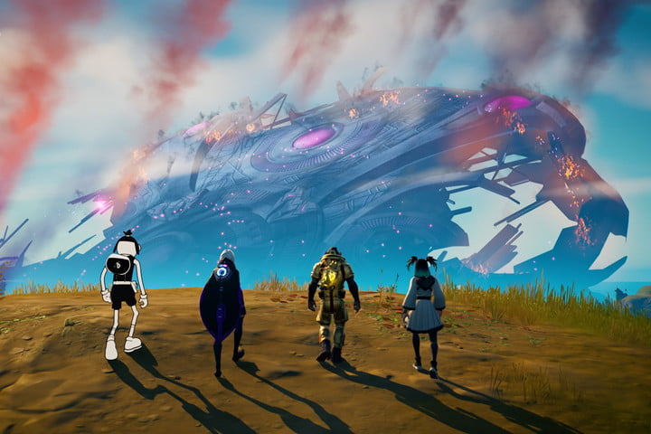 Four characters overlooking crashed ship in Fortnite.