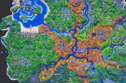 Timed Trials Locations On Fortnite Fortnite Challenge Complete Swimming Time Trial At Weeping Woods Or Coral Castle Digital Trends