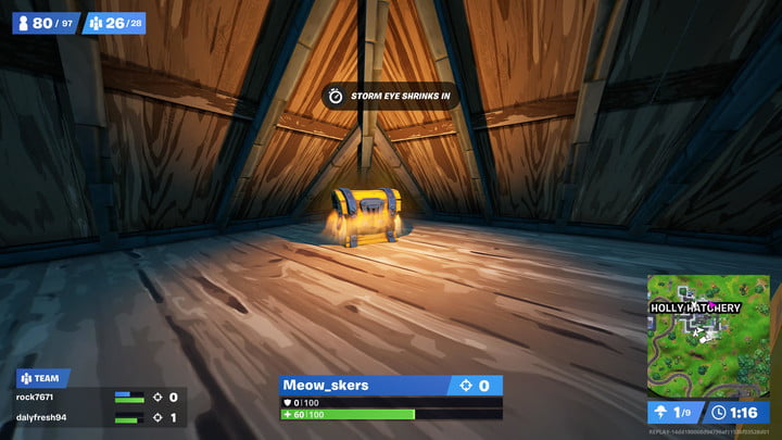 Chest in Holly Hatchery in Fortnite.
