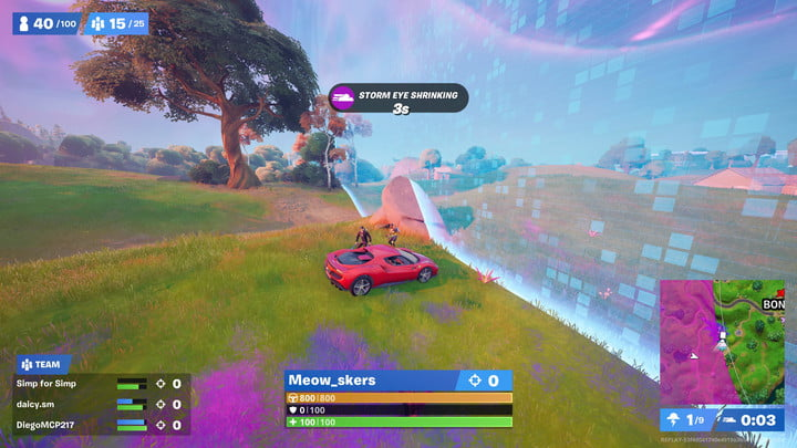 The Whiplash close to the storm in Fortnite.