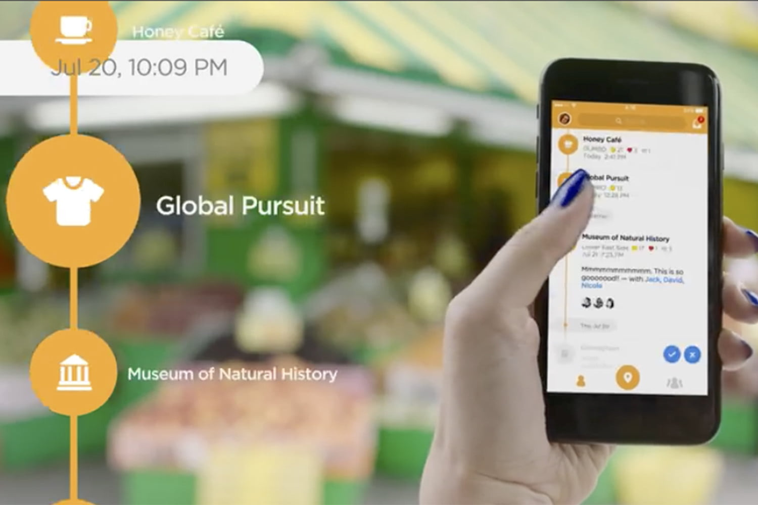 Ad for the Foursquare Swarm app showing it being used on a smartphone.