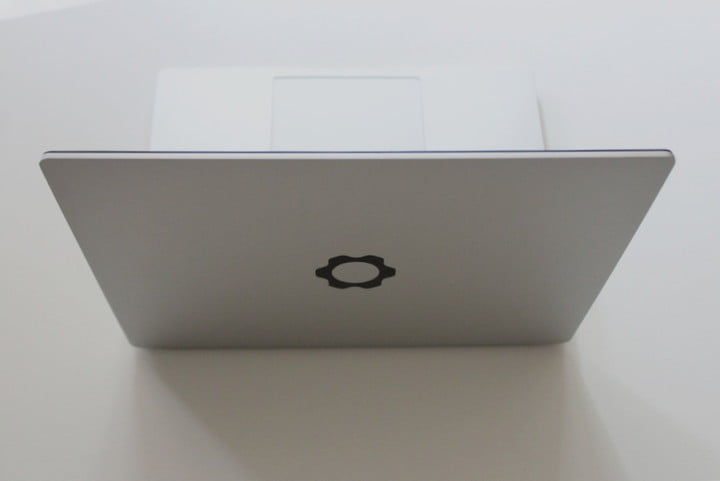 The Framework Laptop from the back, showing the logo on the lid.