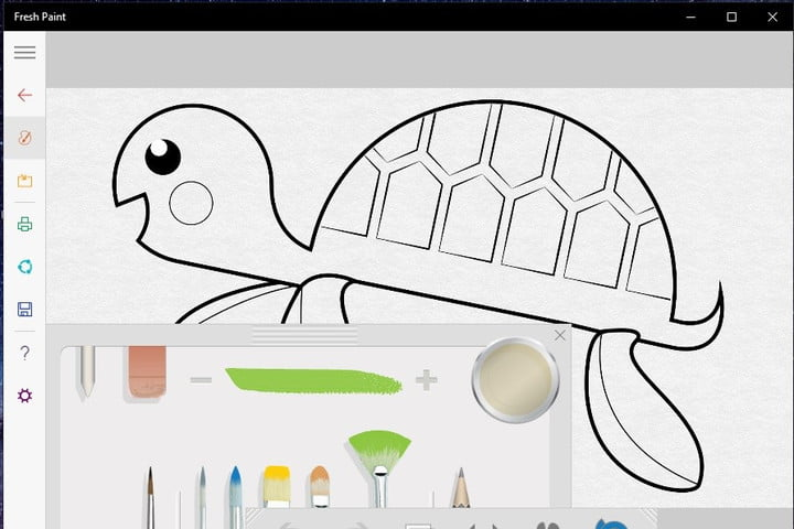 Fresh Paint app user interface in the middle of working on a drawing.