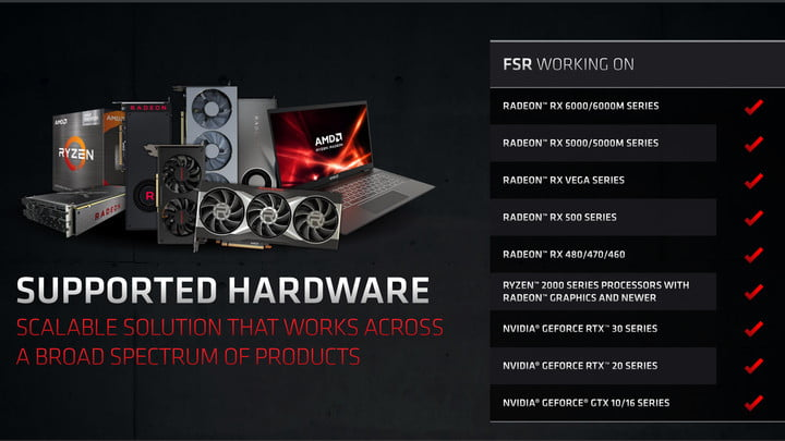 The graphics cards that AMD's FSR works on.