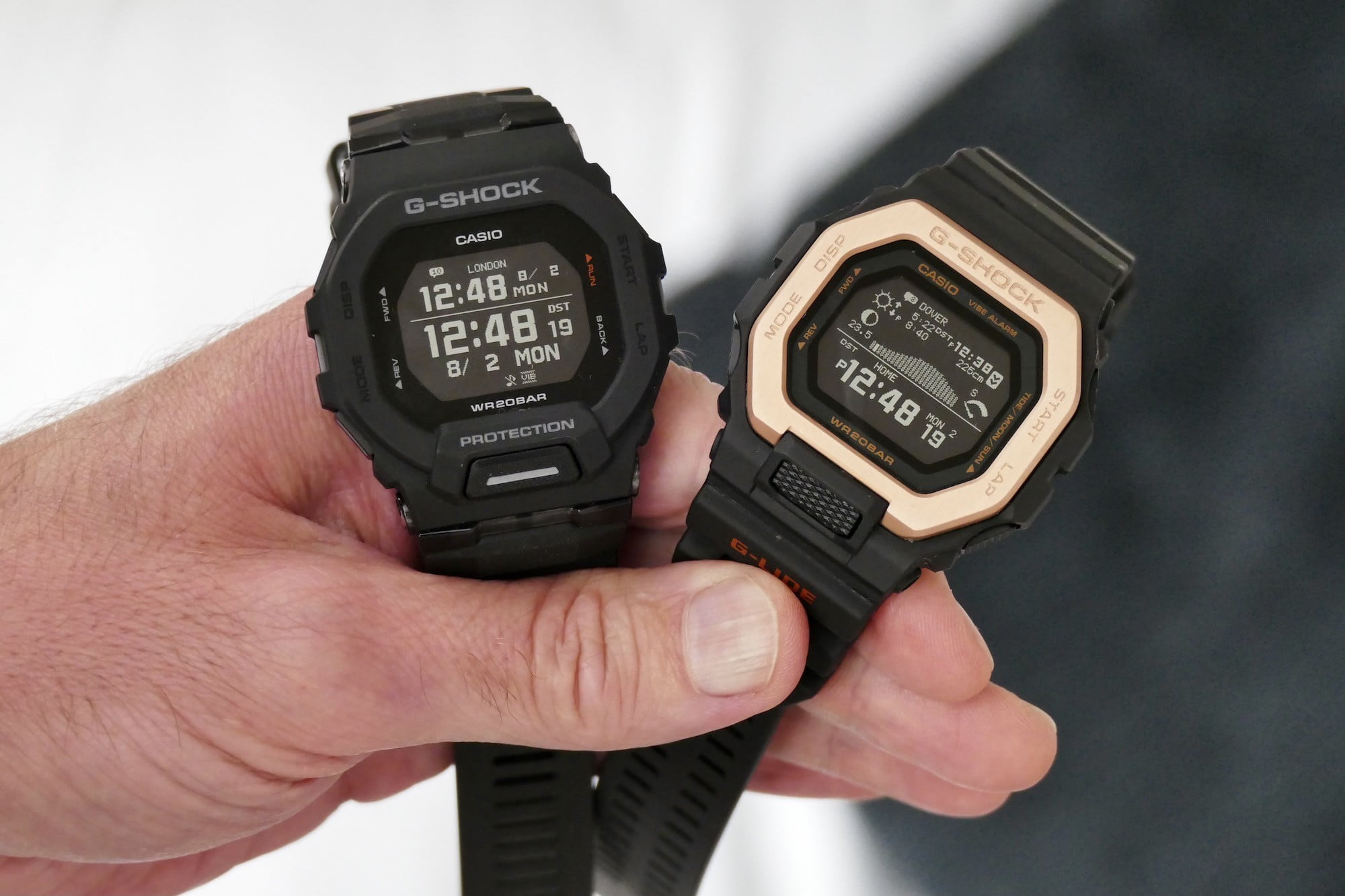 The G Shock GBX-100NS and GBD-100 side-by-side.