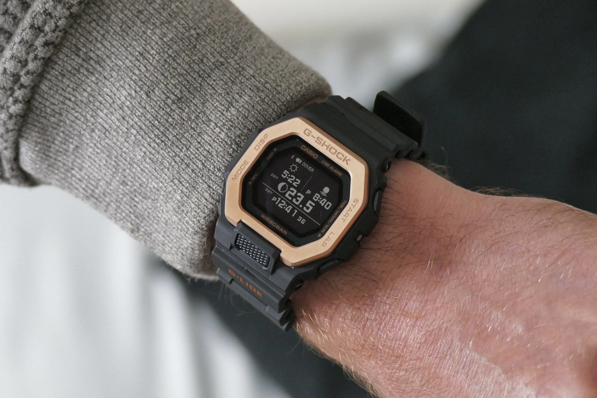 The G Shock GBX-100NS showing sunrise and sunset.