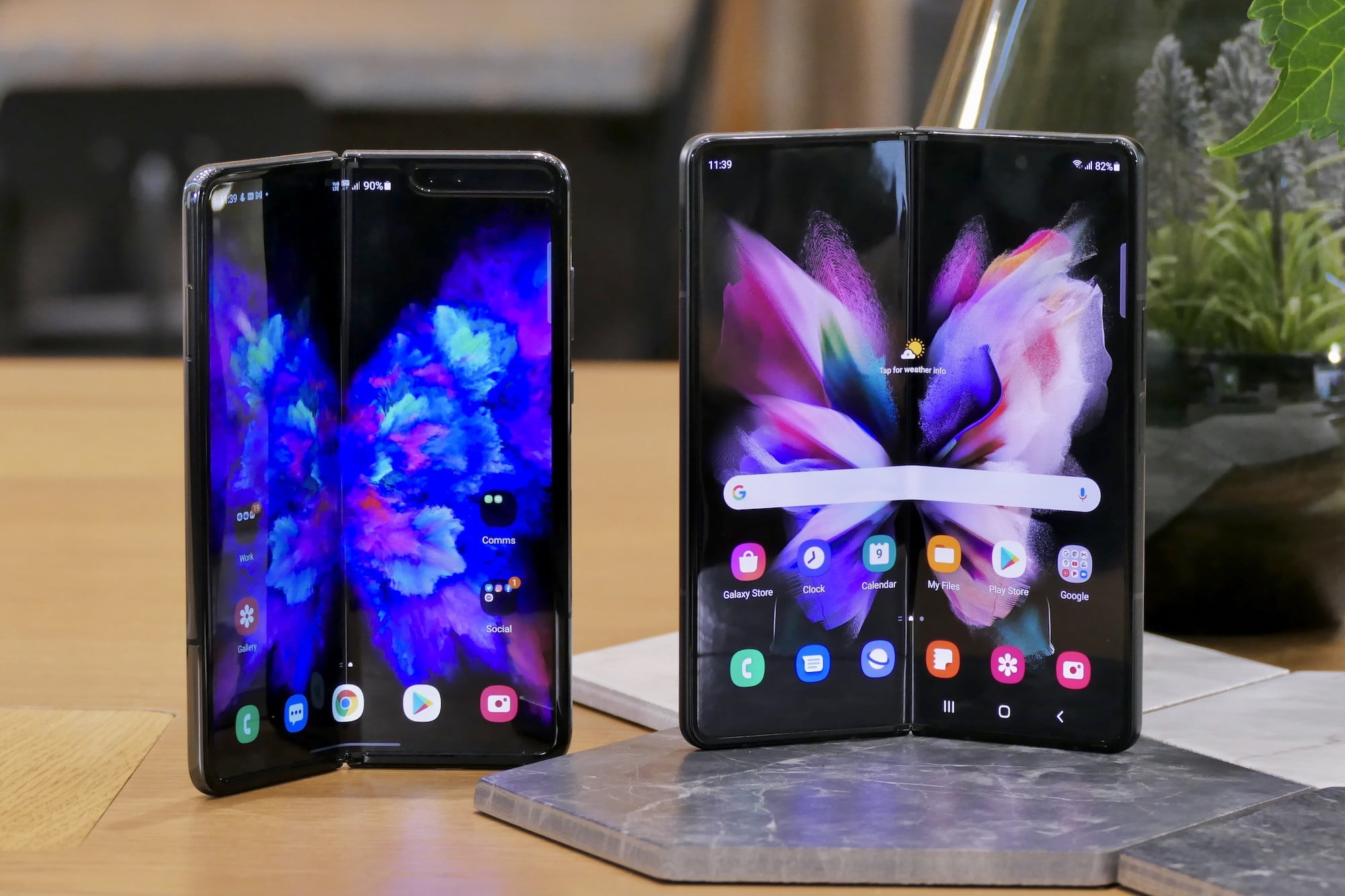 Galaxy Fold (left) and Galaxy Z Fold 3 (right) with open screens.