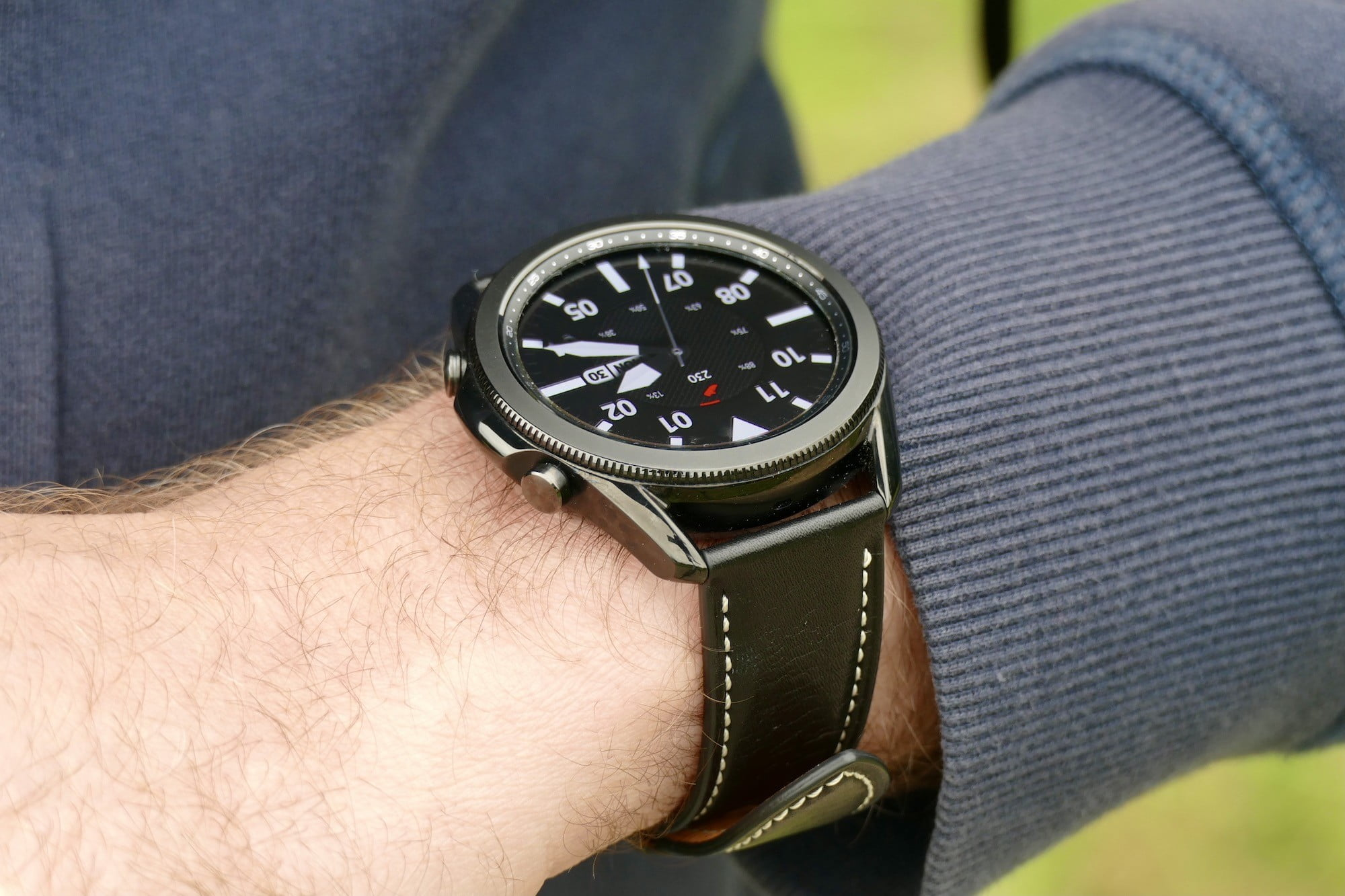 Galaxy Watch 3 on the wrist, seen from the side.