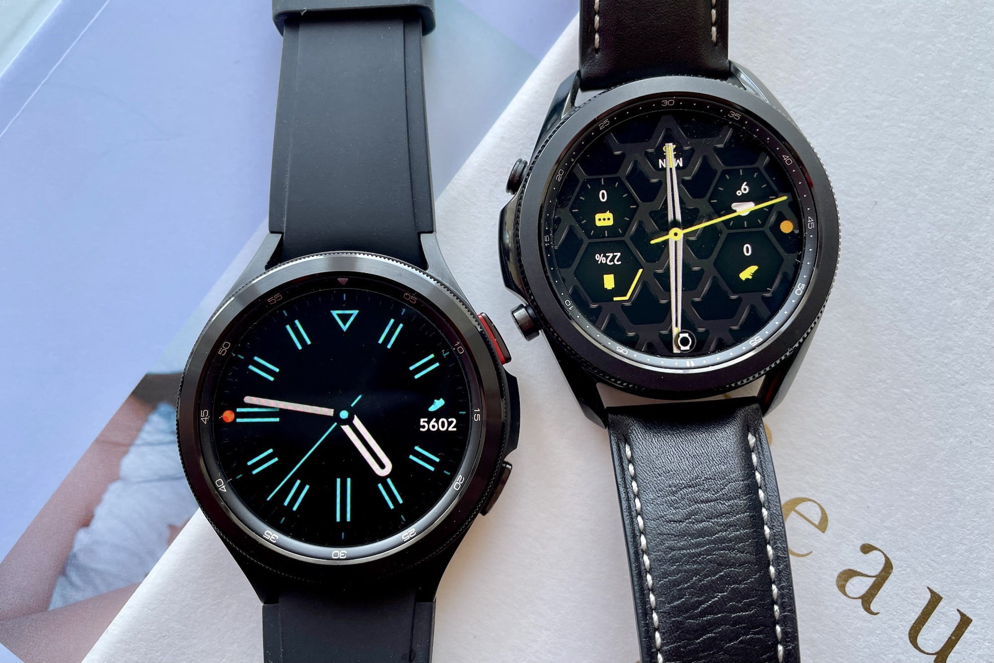 Galaxy Watch 4 Classic (left) and Galaxy Watch 3 (right).
