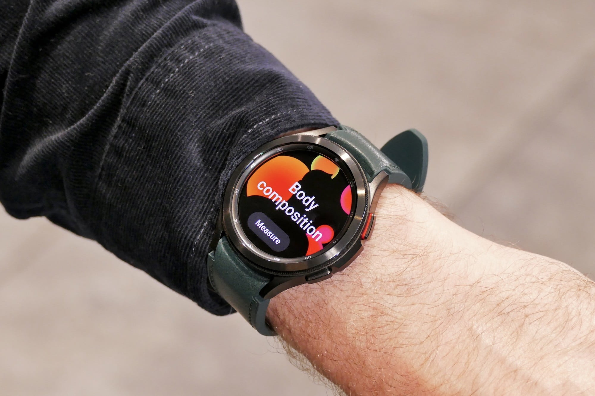 Body Composition menu screen on the Galaxy Watch 4 Classic