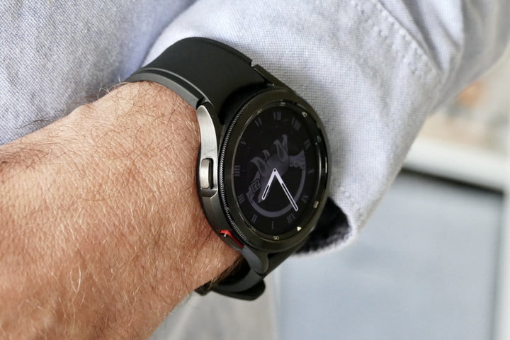 The Galaxy Watch 4 Classic on the wrist, showing the buttons.
