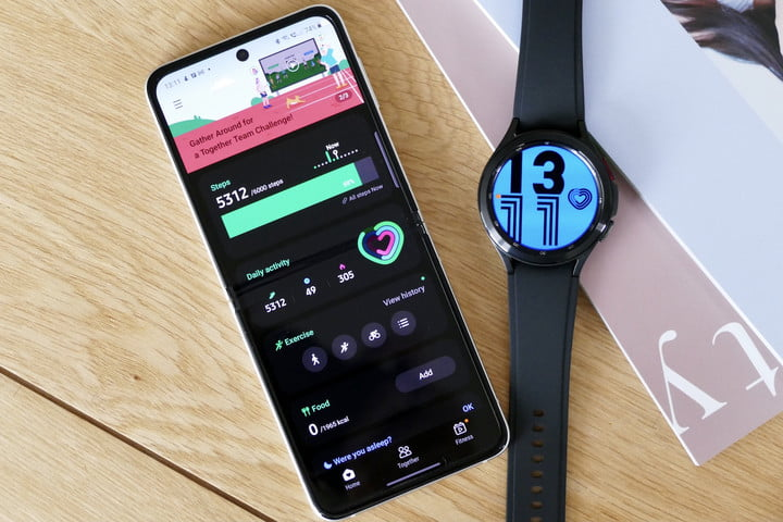 Samsung Health screen, and the Galaxy Watch 4 Classic.