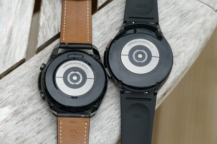 Biometric sensor array on the Galaxy Watch 3 (left) and the Galaxy Watch 4 Classic (right)