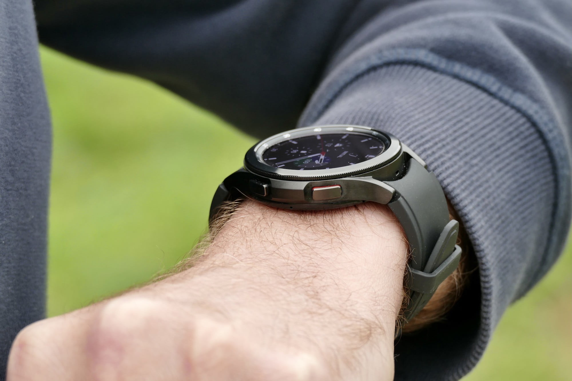 Galaxy Watch 4 Classic on the wrist, seen from the side.