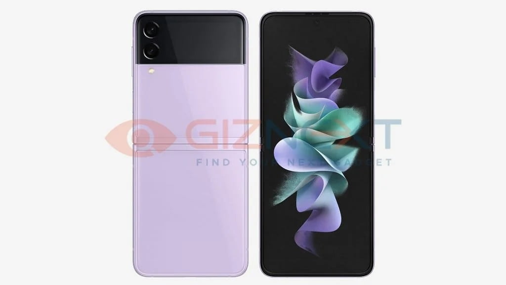 A leaked render of the Galaxy Z Flip 3 5G in pink.