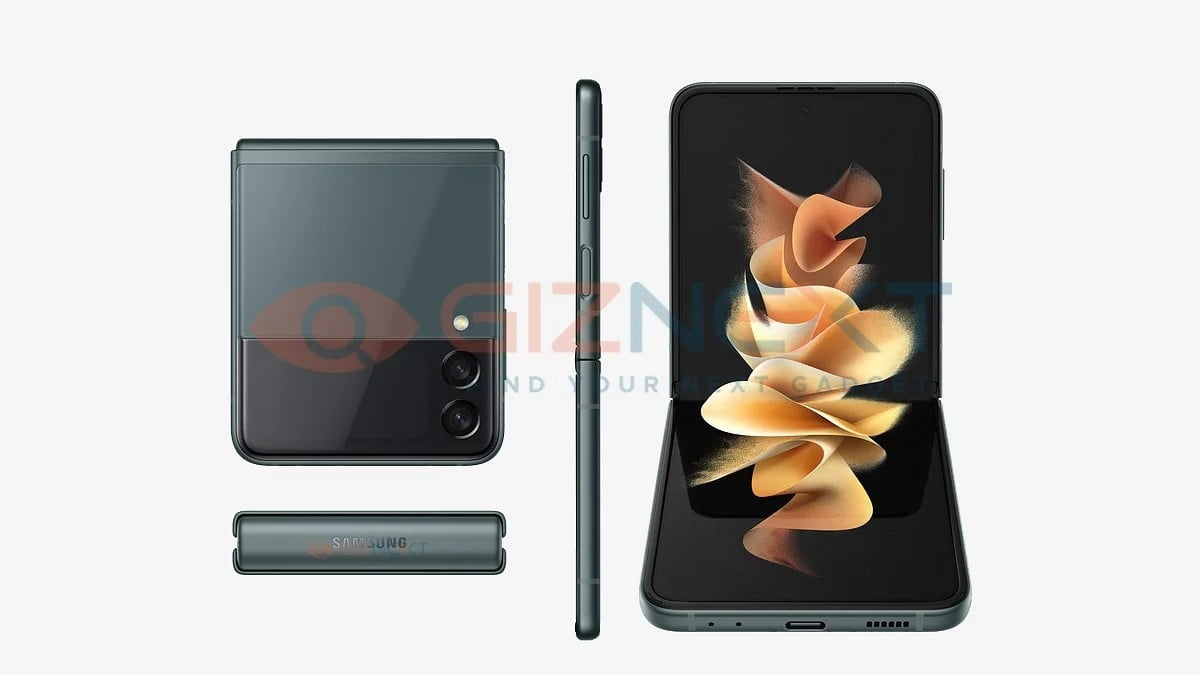 A leaked render of the Galaxy Z Flip 3 5G.