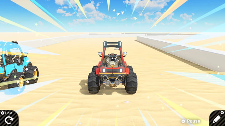 Image of a racing game in Game Builder Garage.