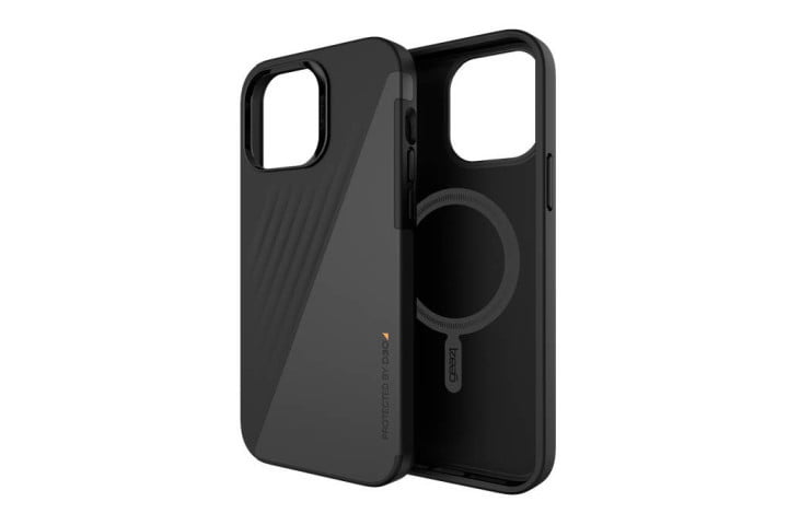 Gear4 Brooklyn Snap Case in black vegan leather for iPhone 13 Pro Max.