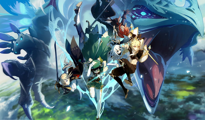 Genshin Impact characters in front of a dragon.