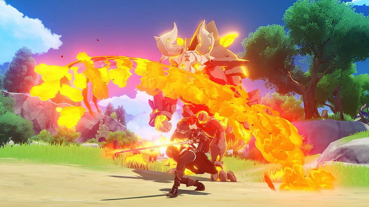 Characters fight a fiery creature in Genshin Impact.