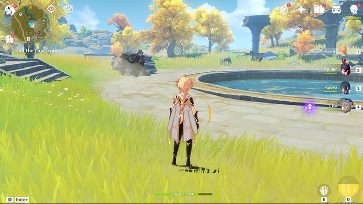 The main character standing near a pool.