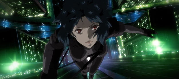 Special agent Motoko Kusanagi falls through the sky above a neon city in a scene from 1995's Ghost in the Shell.