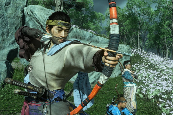 Jin draws back a bow in Ghost of Tsushima.