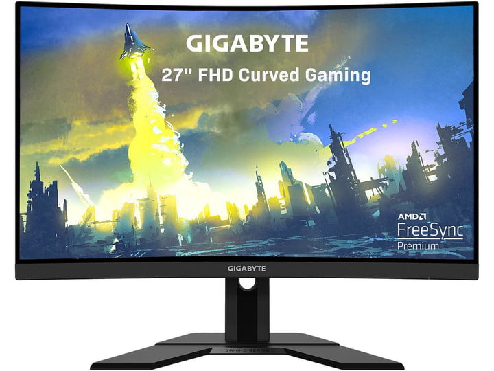 Gigabyte curved gaming monitor showing colorful game scene on screen, on a white background.