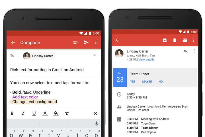 gmail formatting options quick rsvp android update rich text