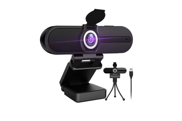The HZQ W8A webcam with its privacy shutter open and next to an image of its tripod and USB cord, all on a white background.