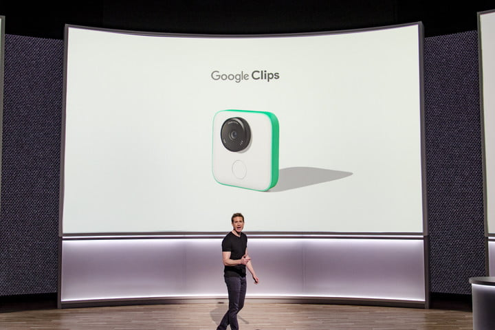 Google Clips on stage at October 4 event
