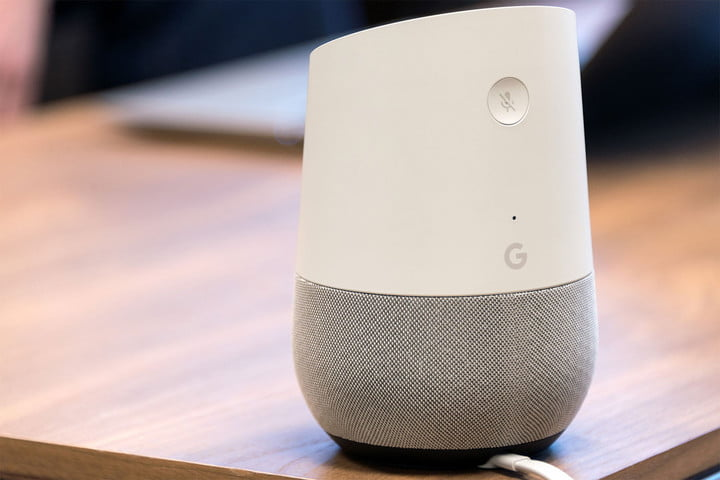Back view of Google Home showing its mute button.