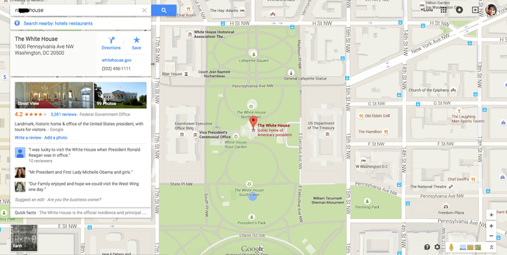 racist google maps search white house