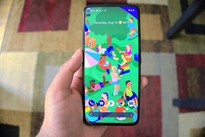 Google Pixel 5a with screen on.