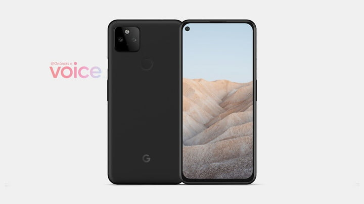 An alleged rear and front rendering of the Google Pixel 5a.