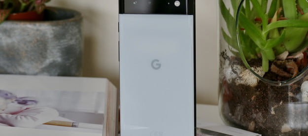 The back of the Pixel 6 in Seafoam color.