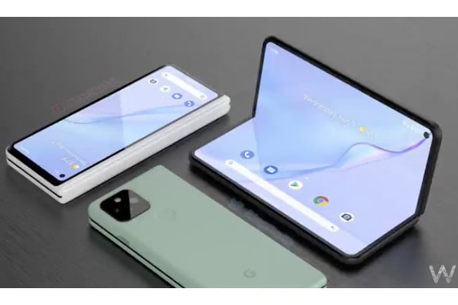 A Google Pixel Fold show in three configurations.