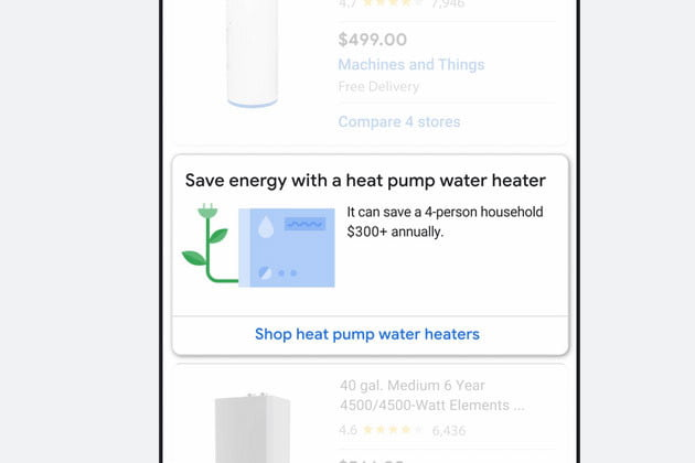 Screenshot of Google search results for water heaters.