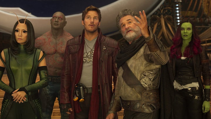 The Guardians of the Galaxy with Ego in Guardians of the Galaxy, Vol. 2.